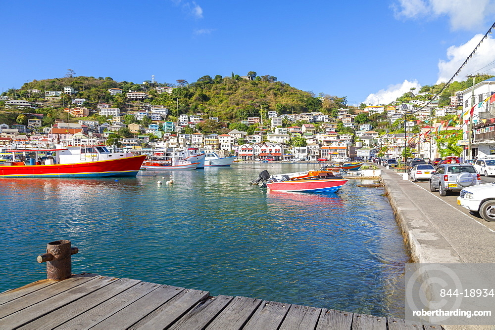 Colourful boats and houses on the Carnarge of St George's, Grenada, Windward Islands, West Indies, Caribbean, Central America
