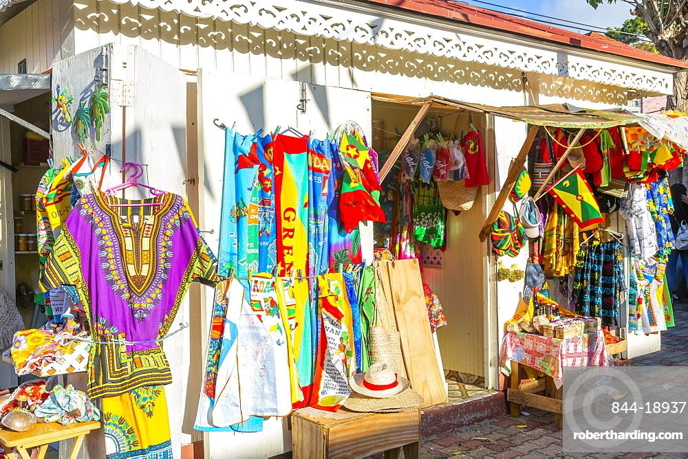 Traditional colourful clothing on Melville Street in St George's, Grenada, Windward Islands, West Indies, Caribbean, Central America