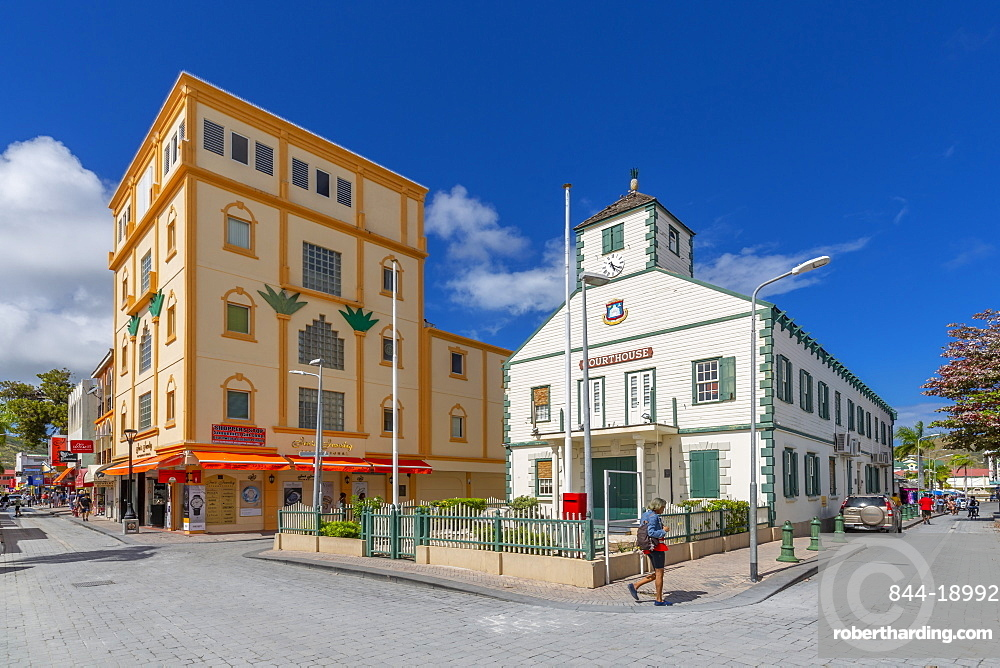 View of Courthouse on Front Street, Philipsburg, St Maarten, Caribbean, Leeward Islands, West Indies, Central America