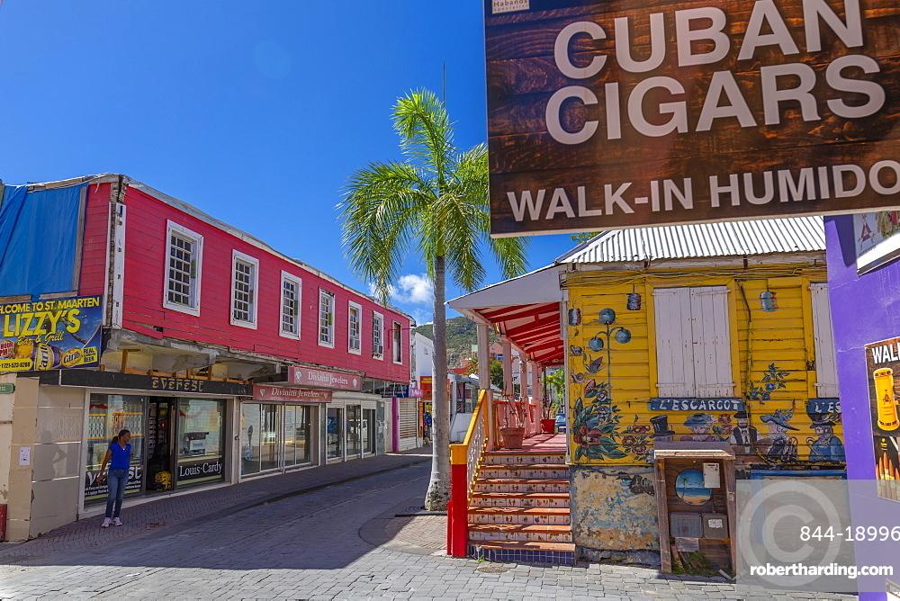 View of shops and buildings on Front Street, Philipsburg, St Maarten, Caribbean, Leeward Islands, West Indies, Central America