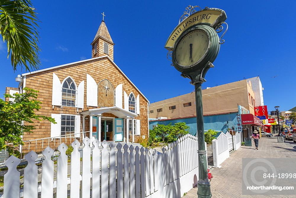View of Methodist Church on Front Street, Philipsburg, St Maarten, Caribbean, Leeward Islands, West Indies, Central America