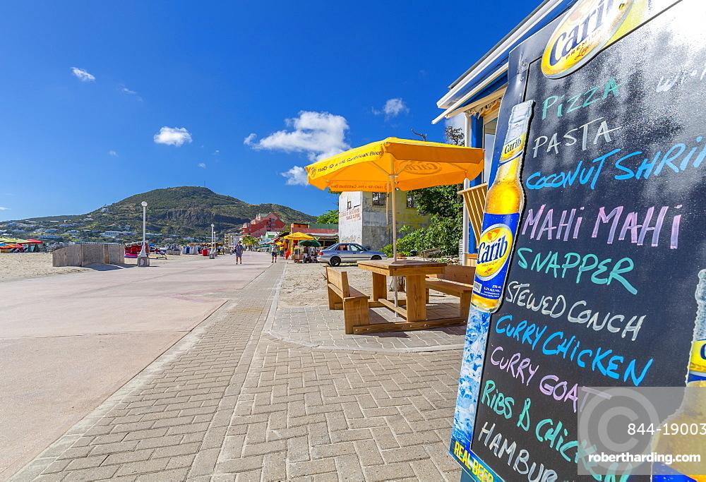 View of beach bar overlooking Caribbean Sea, Philipsburg, St Maarten, Caribbean, Leeward Islands, West Indies, Central America