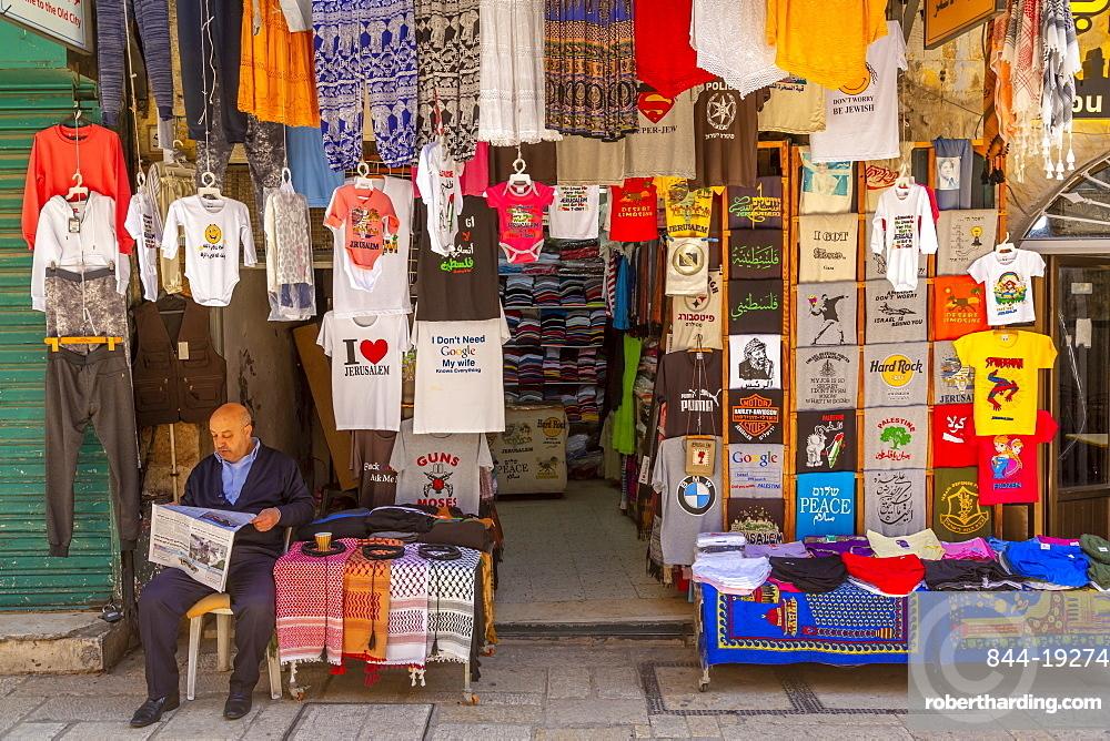 Colourful clothes, Souk Khan al-Zeit Street in Old City, Old City, UNESCO World Heritage Site, Jerusalem, Israel, Middle East