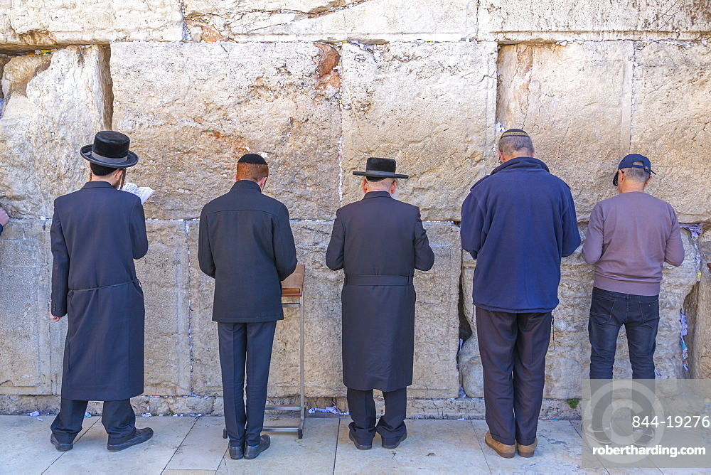 View of worshipers at the Western Wall in Old City, Old City, UNESCO World Heritage Site, Jerusalem, Israel, Middle East