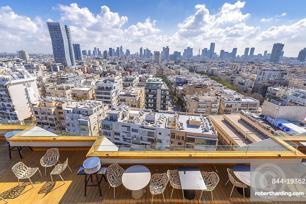 View of city skyline from hotel terace, Tel Aviv, Israel, Middle East