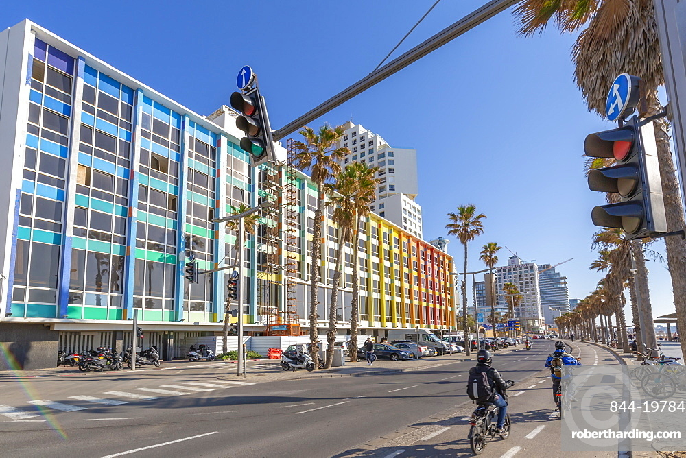 View of colourful buildings and traffic on Hayarkon Street, Tel Aviv, Israel, Middle East