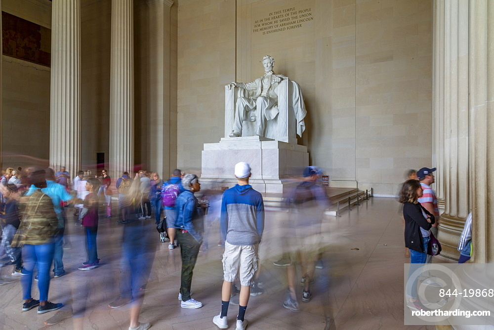 View of visitors around the statue of Abraham Lincoln, Lincoln Memorial, Washington, D.C., United States of America, North America