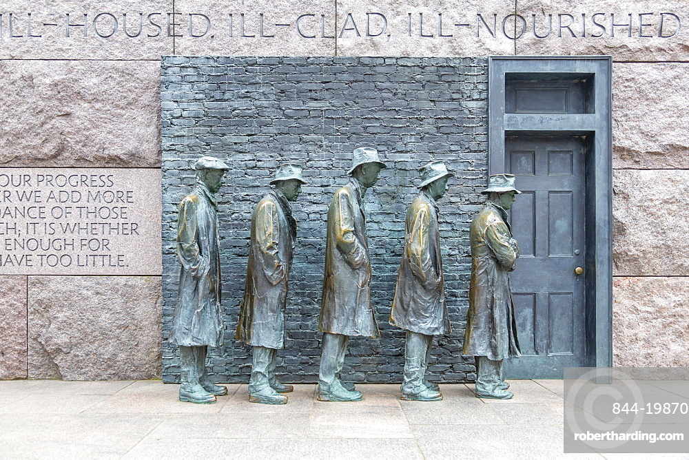 View of statue of a Great Depression bread line at the Franklin D. Roosevelt Memorial, Washington, D.C., United States of America, North America