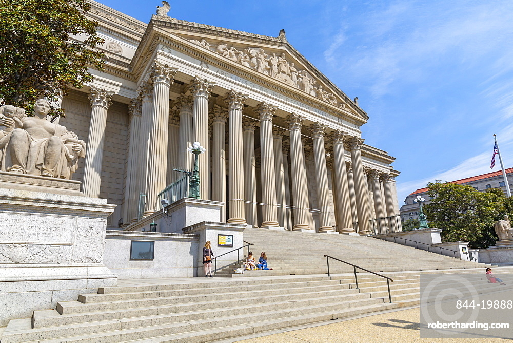 View of National Gallery of Art on Pennsylvania Avenue, Washington DC, District of Columbia, United States of America