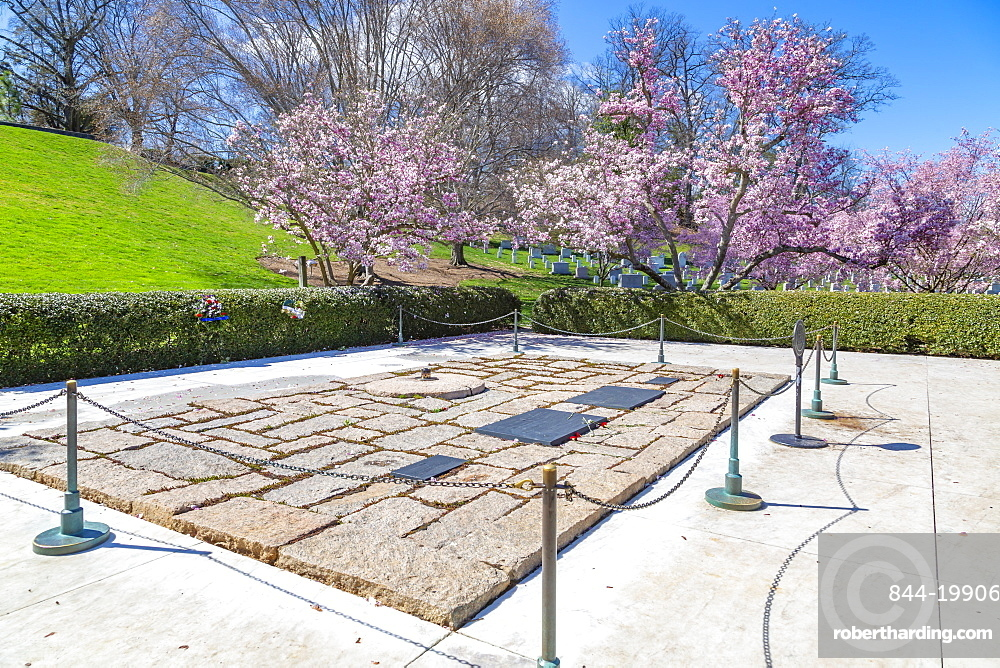 View of President John F. Kennedy Gravesite in Arlington National Cemetery, Washington DC, District of Columbia, United States of America