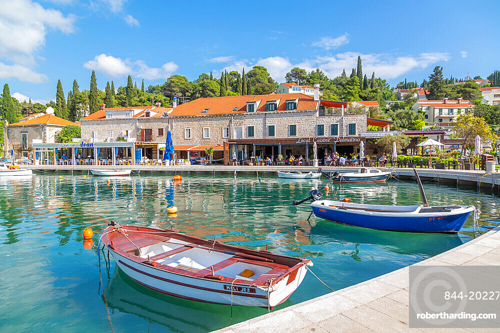 View of boats in the harbour in Cavtat on the Adriatic Sea, Cavtat, Dubronick Riviera, Croatia, Europe
