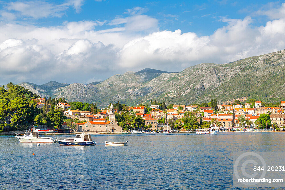 View of town and harbour in Cavtat on the Adriatic Sea, Cavtat, Dubronick Riviera, Croatia, Europe