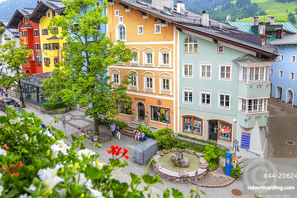 View of colourful architecture from window of Vordarstadt, Kitzbuhel Austrian Tyrol, Austria, Europe