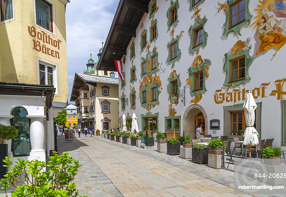 View of colourful architecture on Speckbackerstrassa in St. Johann in Tirol Austrian Tyrol, Austria, Europe