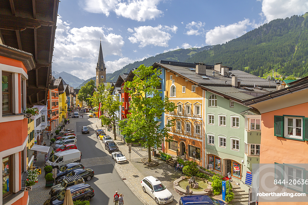 View of colourful buildings on Vordastadt from hotel window, Kitzbuhel, Austria, Europe