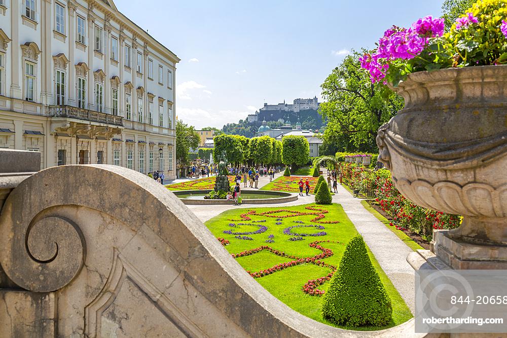 View of Hohensalzburg Castle from Mirabell Gardens, UNESCO World Heritage Site, Salzburg, Austria, Europe