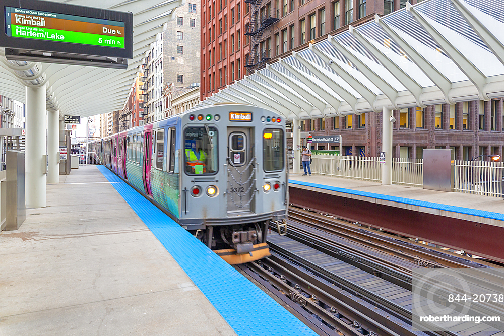 View of Loop train on at station, Downtown Chicago, Illinois, United States of America, North America