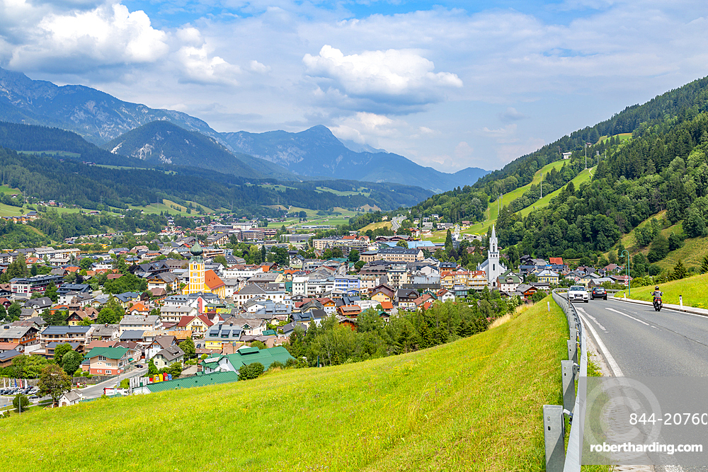 Panoramic view of Schladming town, Styria, Austrian Tyrol, Austria, Europe