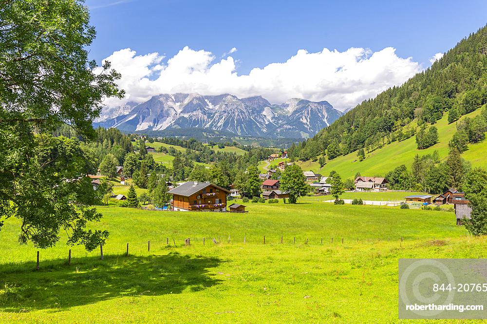 Panoramic view of mountains and meadows near Untertal, Schladming, Styria, Austrian Tyrol, Austria, Europe