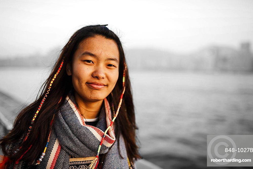 Portrait of young woman, Avenue of Stars, Tsim Sha Tsui Waterfront, Kowloon, Hong Kong, China, Asia