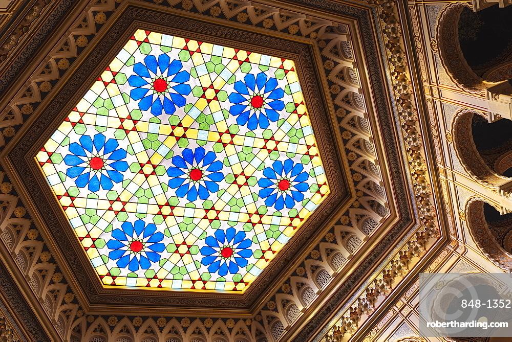 Stained glass window, interior of Vijecnica (City Hall), Old Town, Sarajevo, Bosnia and Hercegovina, Europe