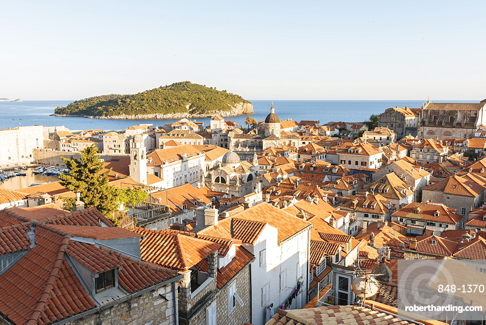 Views over Dubrovnik city skyline from City Walls, UNESCO World Heritage Site, Dubrovnik, Croatia, Europe