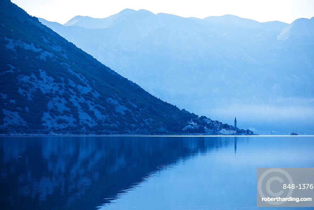 Dawn in The Bay of Kotor, UNESCO World Heritage Site, Montenegro, Europe