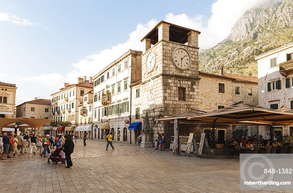 Clock Tower, Stari Grad (Old Town) of Kotor, Bay of Kotor, Montenegro, Europe