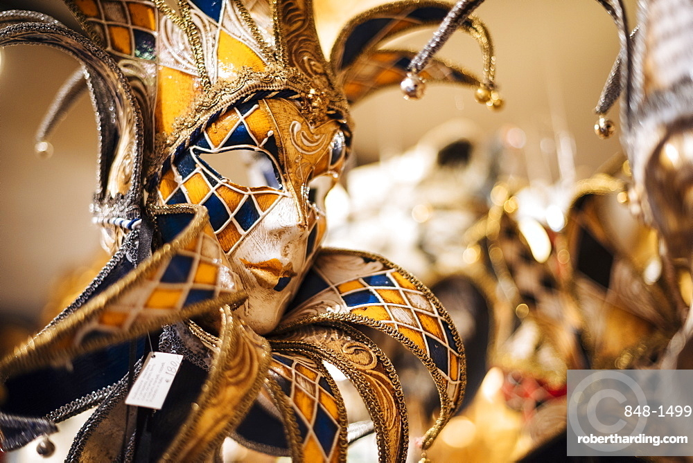 Traditional Venetian masks on display, San Marco, Venice, Veneto Province, Italy, Europe