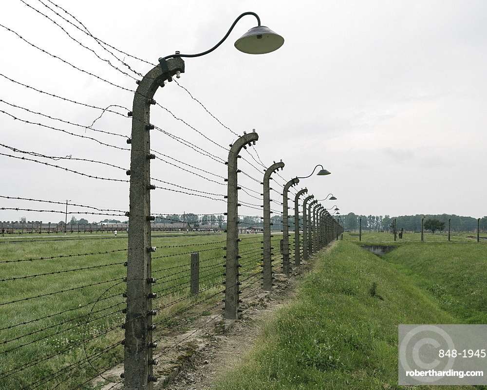 Barbed Wire Fence at The Birkenau concentration camp, Auschwitz, Poland, Europe