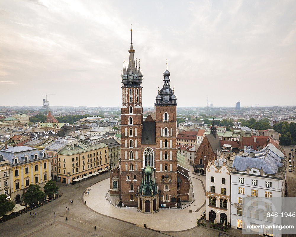 Aerial view of The Church of Saint Mary in Rynek Glowny (Market Square), Krakow, Malopolskie, Poland, Europe