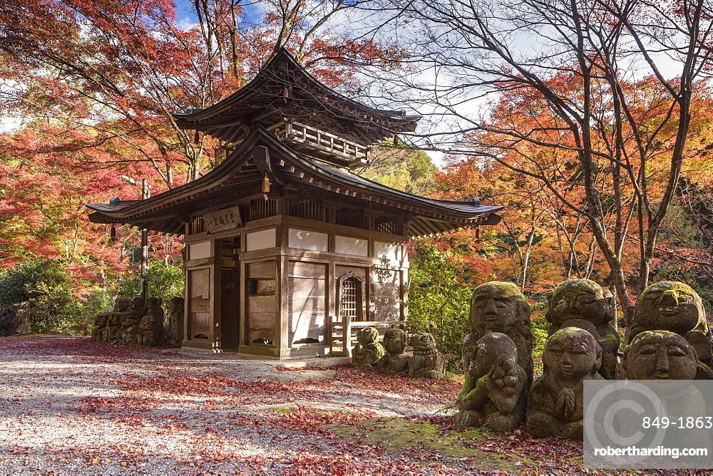 Otagi Nenbutsu-ji temple on the outskirts of Kyoto. Its collection of 1200 Rakan statues represent the disciples of Buddha.