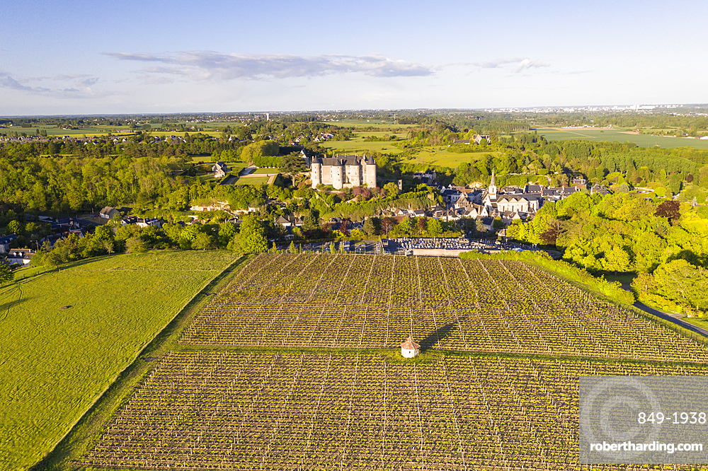Aerial of the chateau and vineyards of Luynes, Indre et Loire, France, Europe