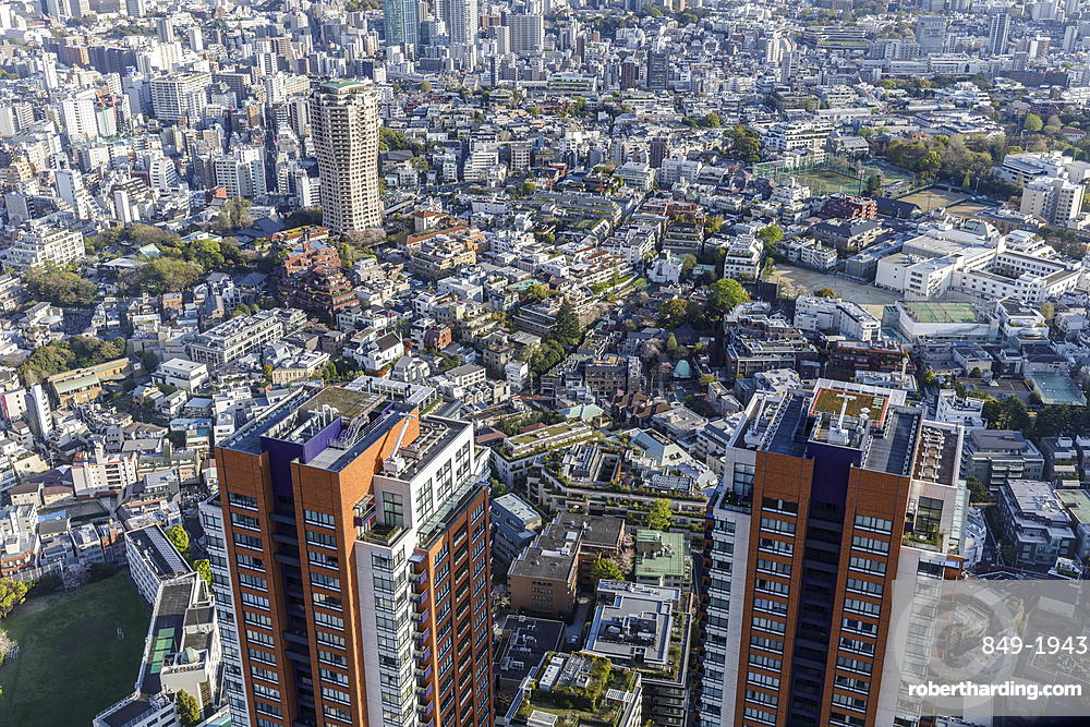 Looking down onto a residential district of central Tokyo, Japan.