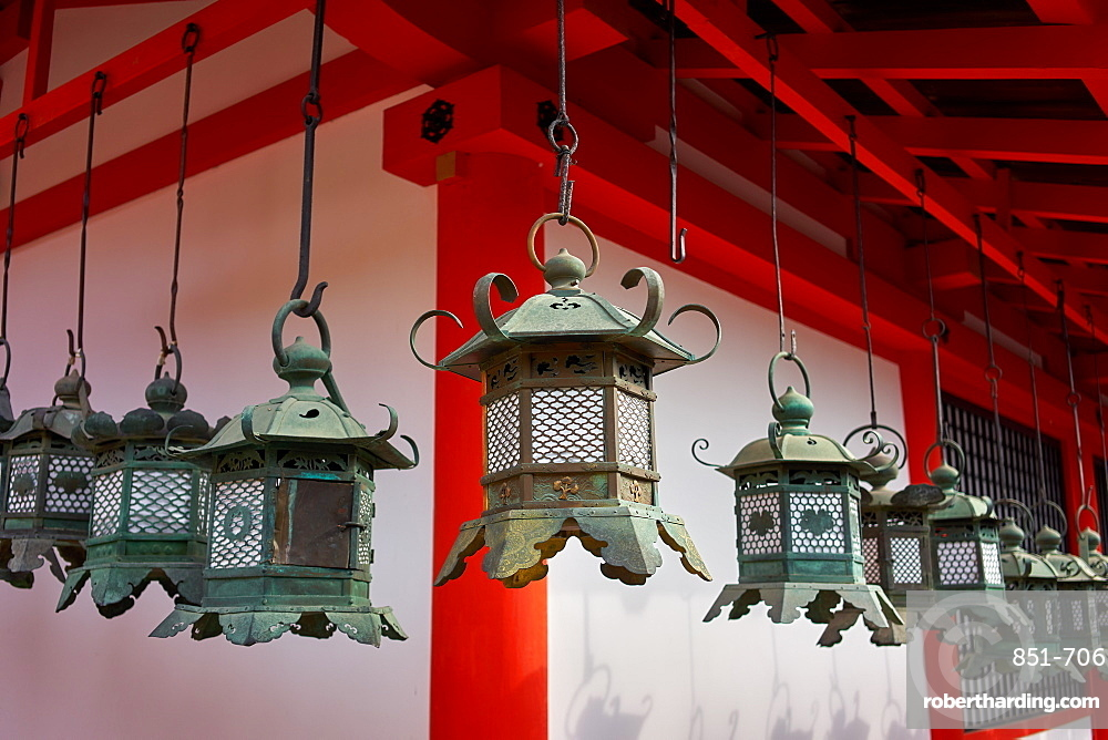 Bronze lanterns at Kasuga Grand shrine (Kasuga-taisha) in Nara Park.