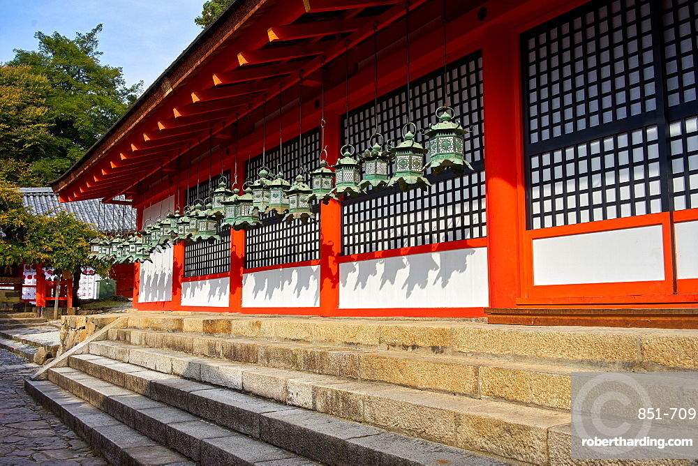 Bronze lanterns at Kasuga Grand shrine (Kasuga-taisha), UNESCO World Heritage Site, Nara Park, Honshu, Japan, Asia