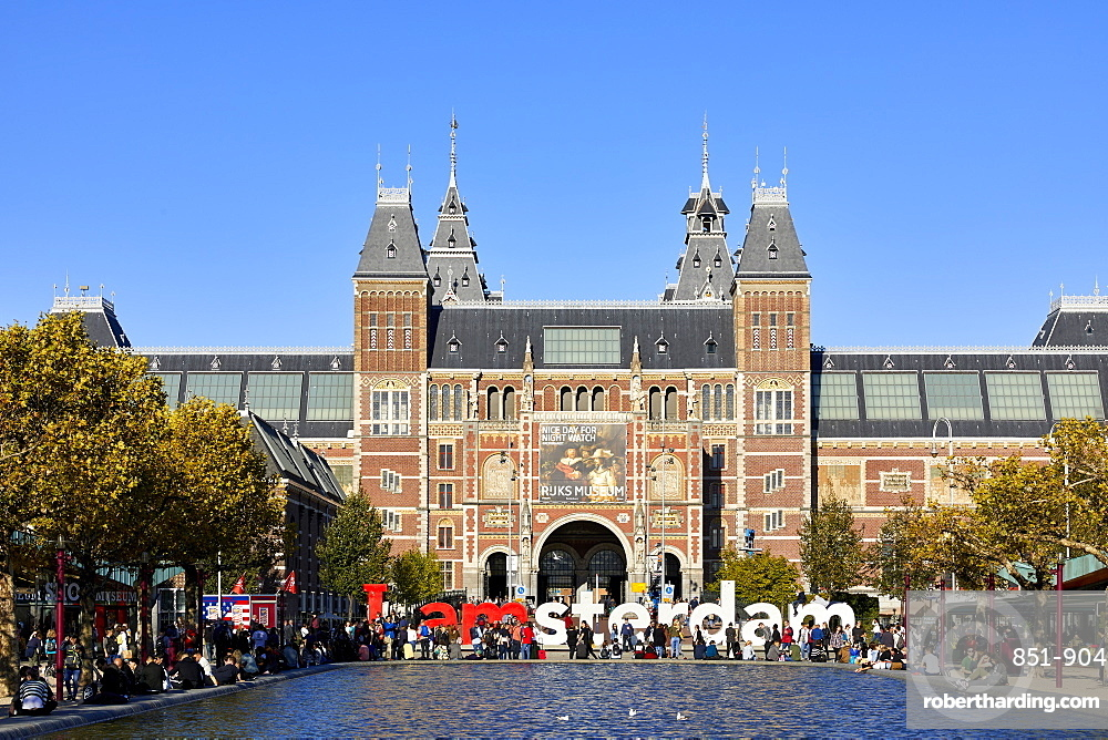 The Rijksmuseum with the IAMSTERDAM sign, Amsterdam, Netherlands.