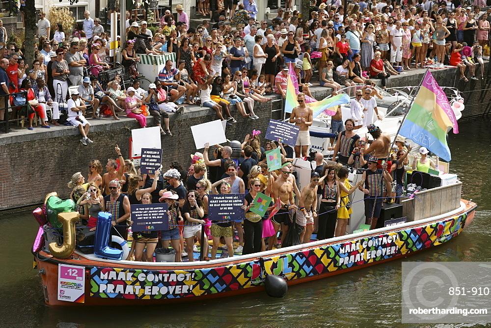 Boat at Gay pride parade, Canal parade in Amsterdam, Netherlands.