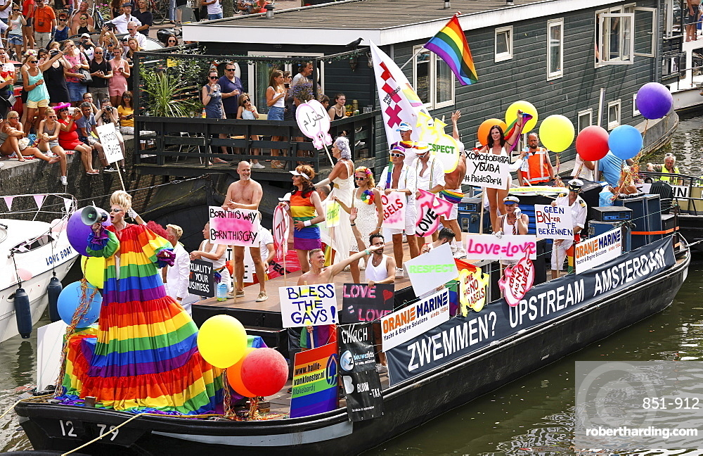 Boat at Gay pride parade, Canal parade in Amsterdam, Netherlands.