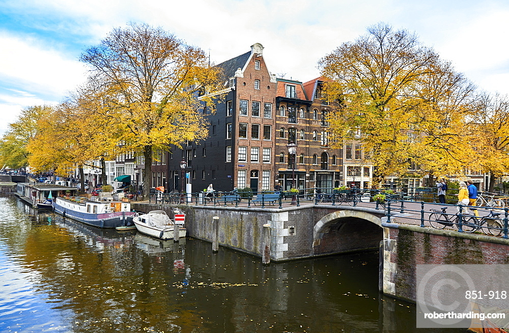Canal houses at Korte Prinsengracht in autumn, Brouwersgracht, Amsterdam, Netherlands.