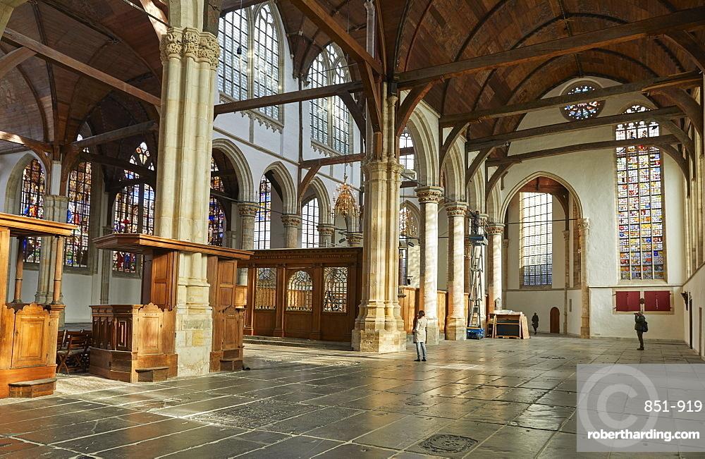 Interior of Oude Kerk, Old Church in Amsterdam, Netherlands.