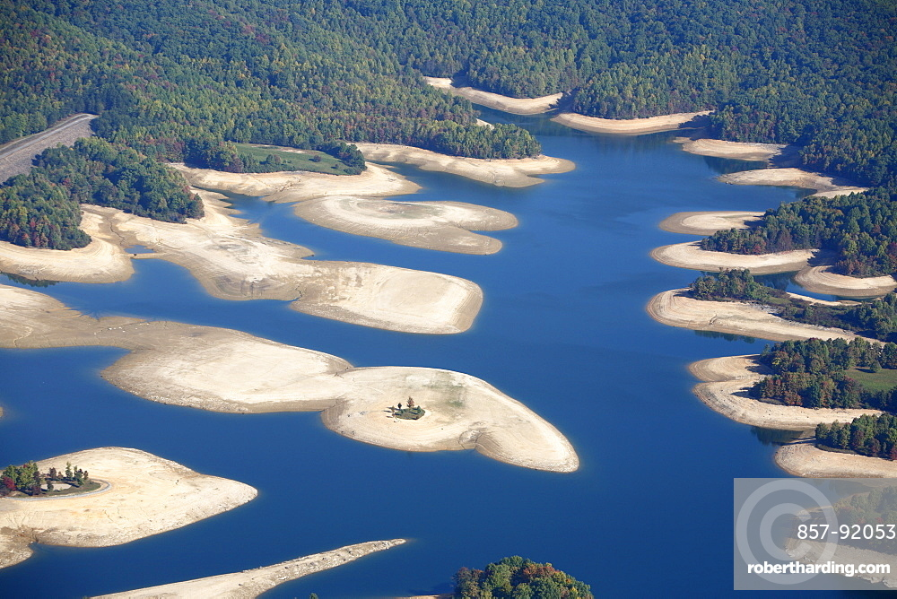 Aerial view Summersville Lake, WV at low water levels
