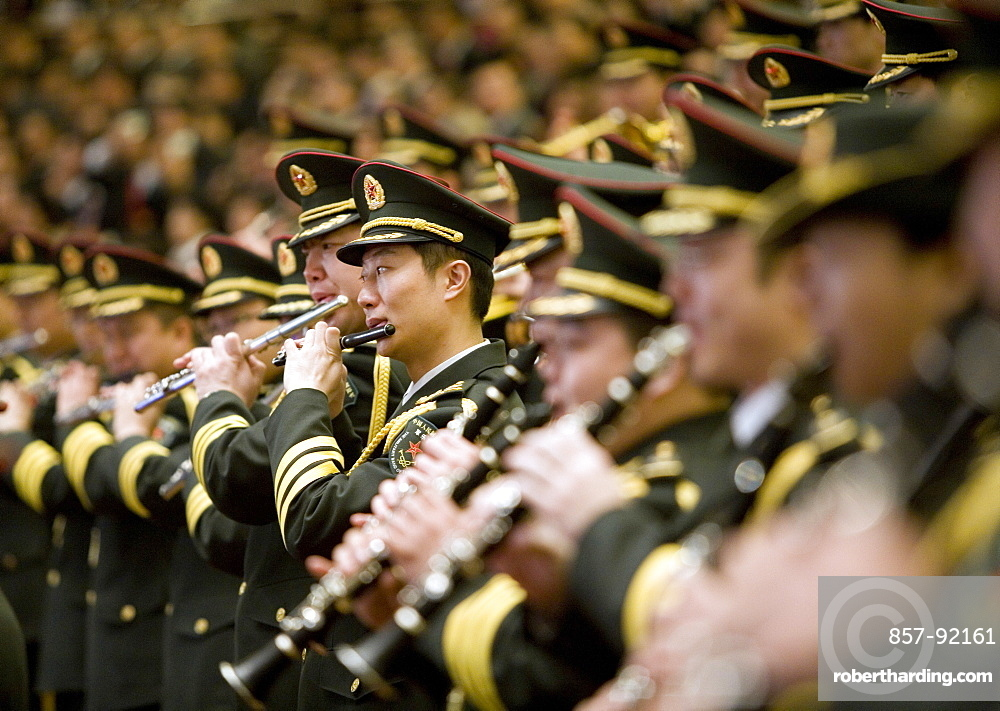 Chinese military band plays the national anthem in the Great Hall of the People, Beijing, China.