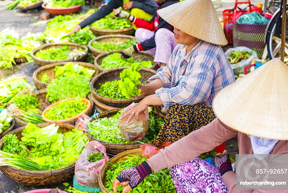 Women selling lettuce and herbs at the central market in Hoi An, Quang Nam Province, Vietnam