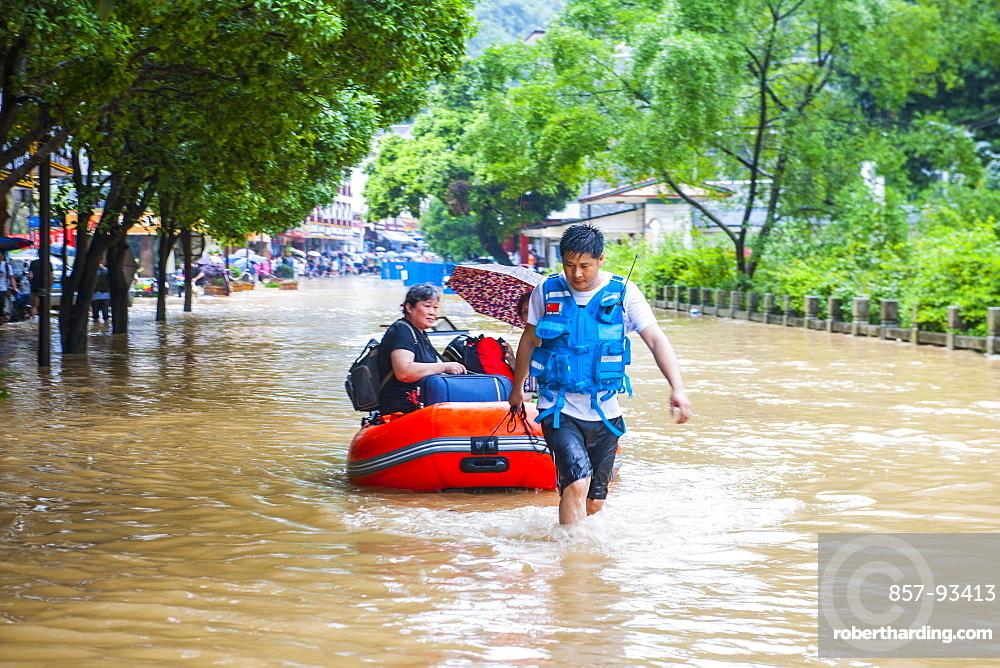 Rescue Workers During The Floods In Yangshuo