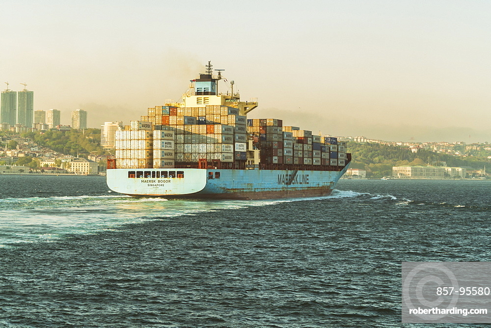 Cargo ship with containers at Marmara Sea, Istanbul, Turkey