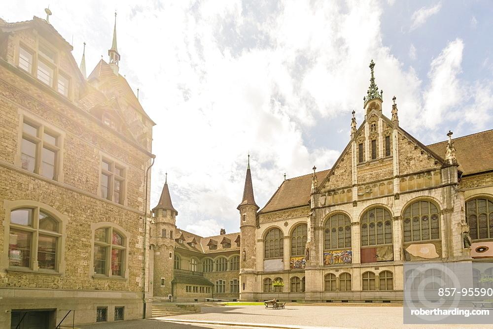 Swiss National Museum facade on summer day, Zurich, Switzerland