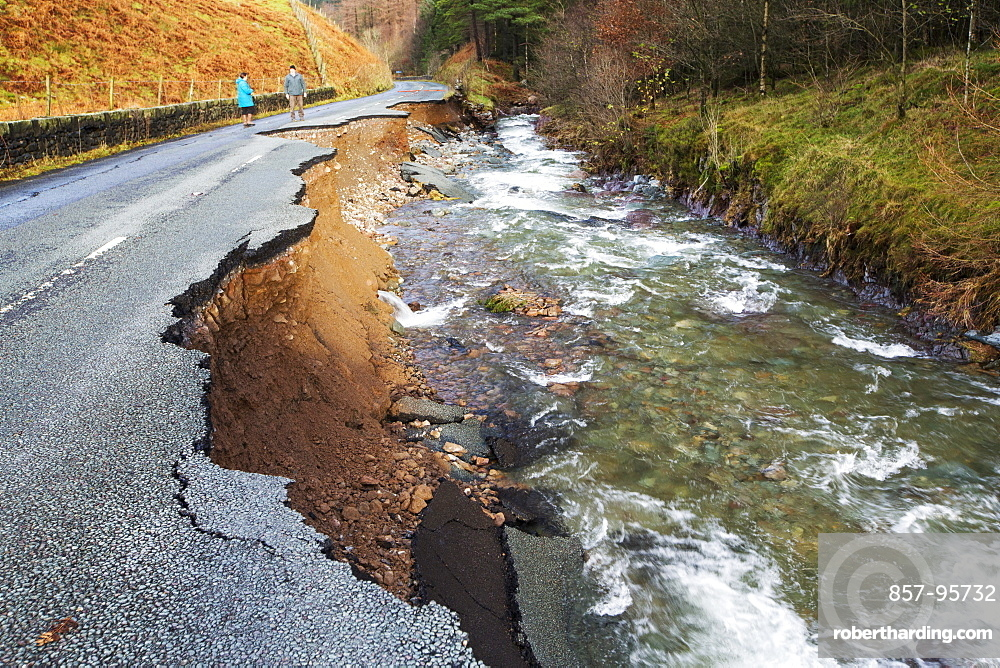 The A591, the main road through the Lake District, completely destroyed by the floods from Storm Desmond, Cumbria, UK. The road was breached in several places by landslides and walls of flood debris twenty feet high. the road will probably be closed for months. Taken on Sunday 6th December 2015.