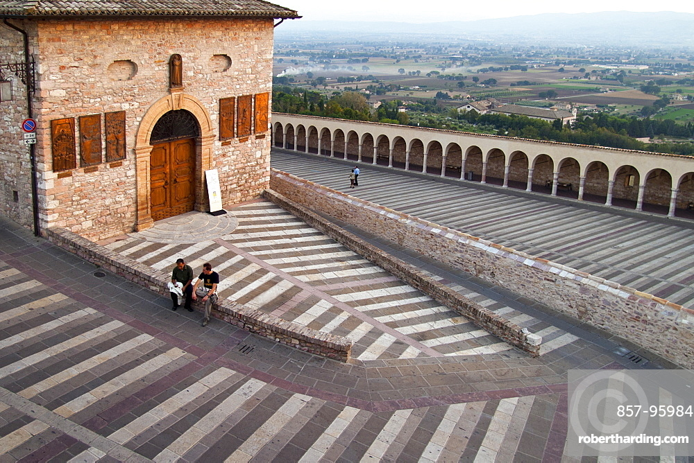 Steps flanking the Basilica of St. Francis, Assisi, Umbria, Italy