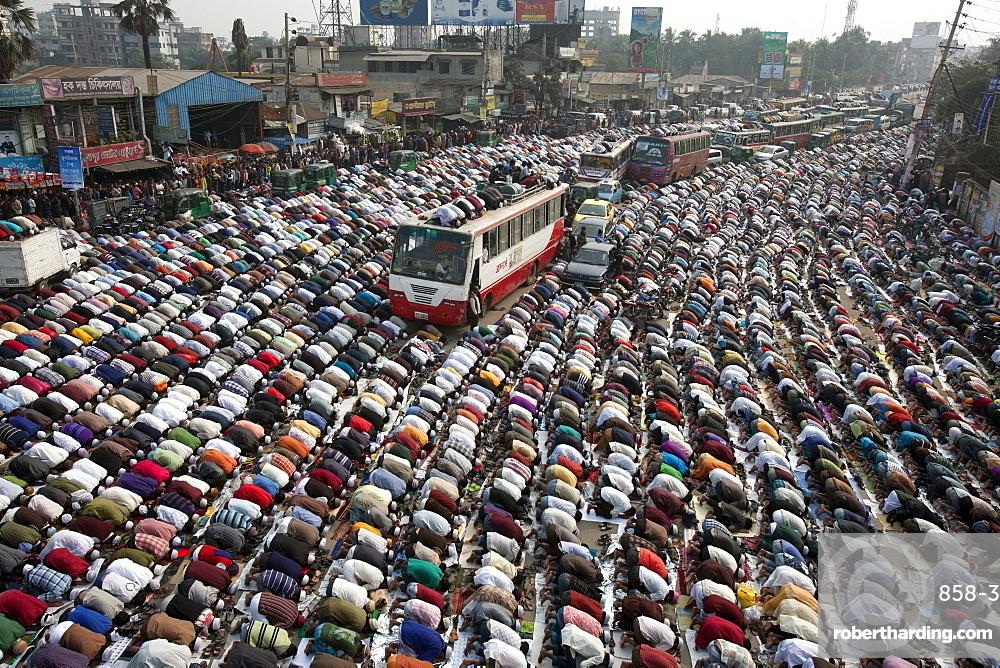 Muslims are praying at in the road due to large number Muslims gathered at  Bishaw ijtema at Tongi, Bangladesh